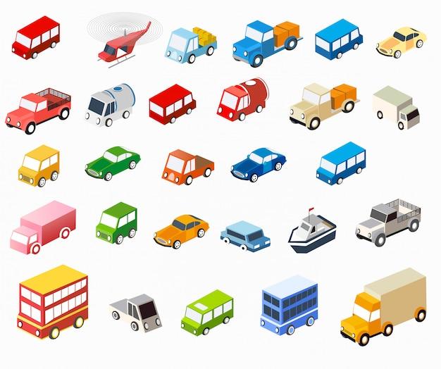 L'ensemble de véhicules isométriques de voitures plates pour la créativité et le design Vecteur Premium