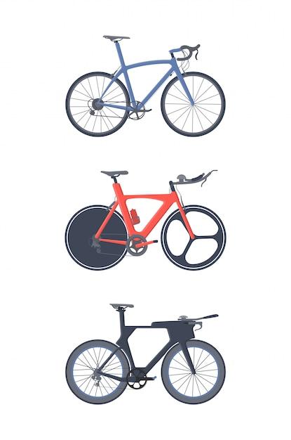 Ensemble de vélo de route. Vecteur Premium