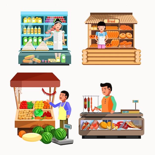 Ensemble de vendeurs au comptoir et stand. magasins de collection de vecteurs Vecteur Premium