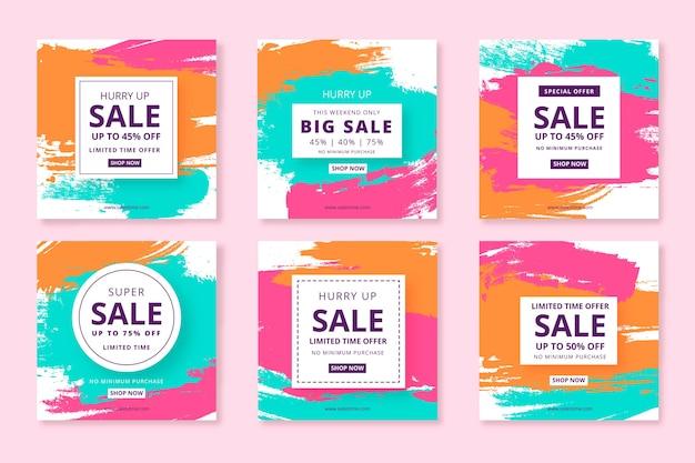 Ensemble de vente abstrait peint poste instagram Vecteur gratuit