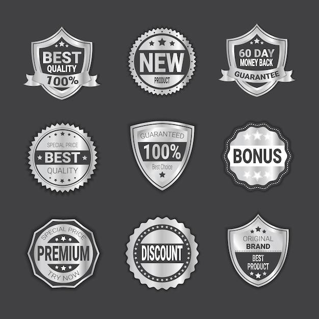 Ensemble de vente argent badge vente ou emblème de boucliers de haute qualité isolé Vecteur Premium