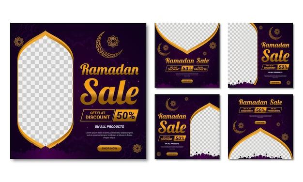 Ensemble De Vente Du Ramadan Pour L'histoire Des Médias Sociaux Et Les Cadres De Publication. Vecteur Premium