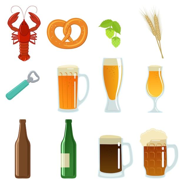 Ensemble De Verres à Bière, Bouteille Et Collation. Vecteur Premium