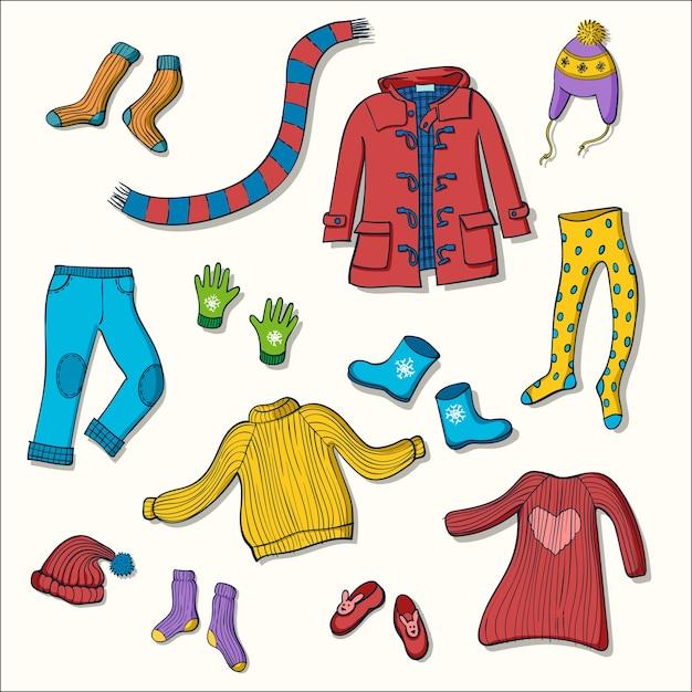 Ensemble de vêtements d'hiver d'illustrations vectorielles Vecteur Premium