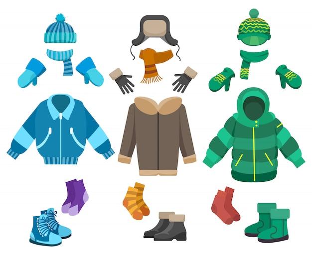 Ensemble de vêtements d'hiver pour hommes Vecteur Premium