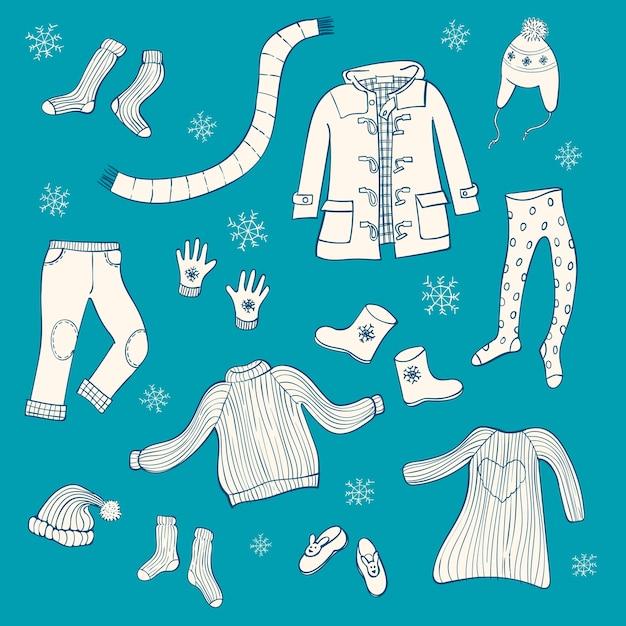 Ensemble de vêtements d'hiver Vecteur Premium