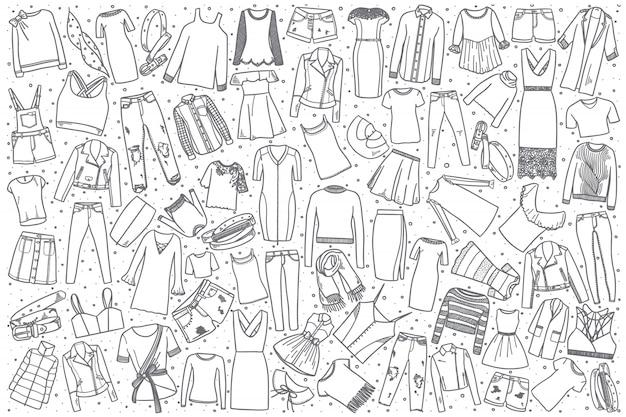 Ensemble De Vêtements Pour Femmes Dessinés à La Main Vecteur Premium