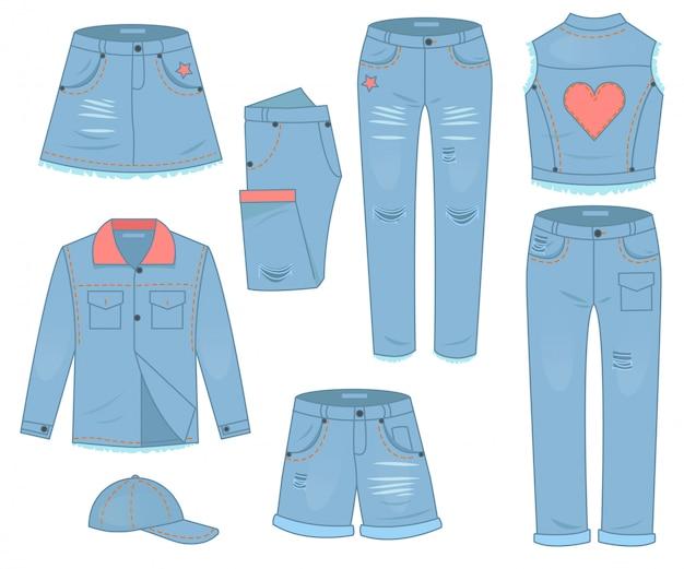 Ensemble De Vêtements Pour Femmes De Jeans Bleus. Design De Mode Style Décontracté Urbain Vecteur Premium