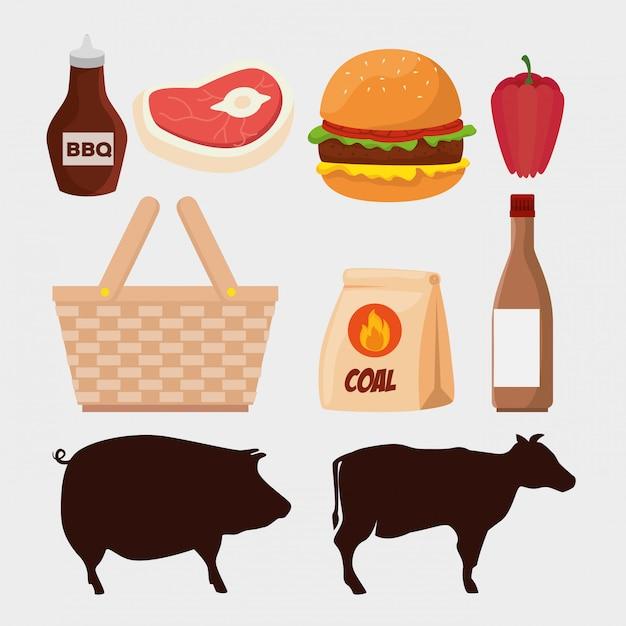 Ensemble de viande avec des silhouettes d'animaux et hamburger Vecteur gratuit