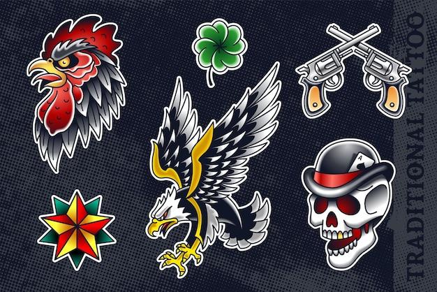 Ensemble De La Vieille école La Plus Populaire: Coq, Trèfle, Revolvers, étoile, Aigle Et Crâne Au Chapeau. Vecteur Premium