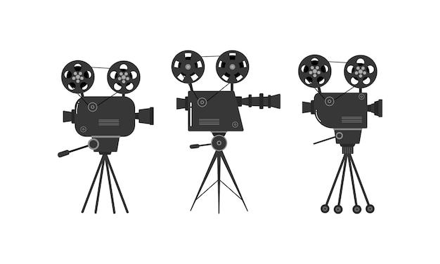 Ensemble De Vieux Projecteurs De Cinéma Sur Un Trépied. Vecteur Premium