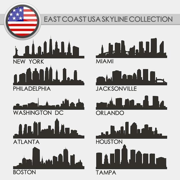 Ensemble de villes de la côte ouest des états-unis Vecteur Premium