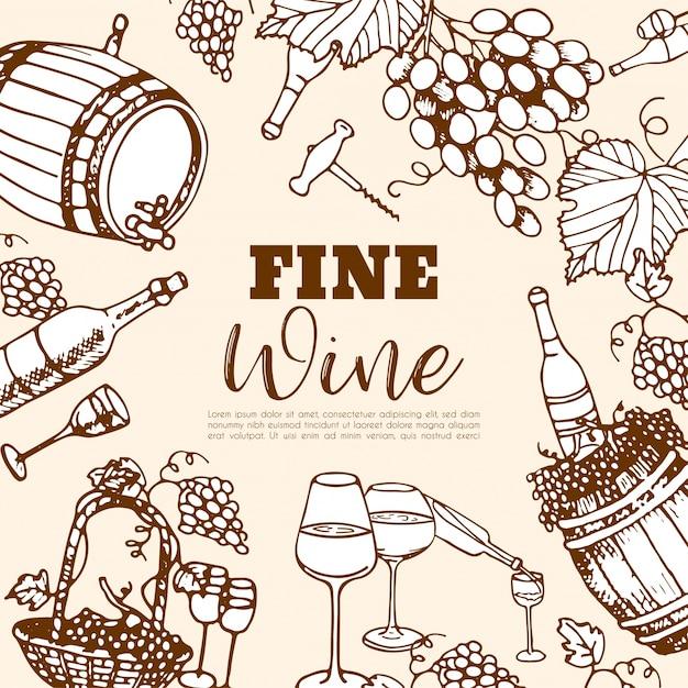 Ensemble De Vin. Produits De Vinification Dans Le Style De Croquis. Ensemble De Boissons Alcoolisées Dessinés à La Main. Vecteur Premium