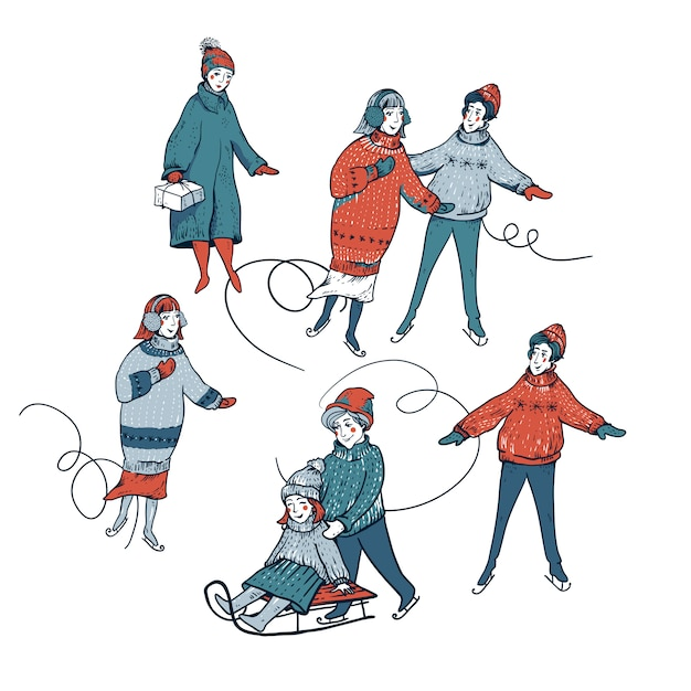 Ensemble Vintage De Traîneaux D'hiver Vecteur Premium