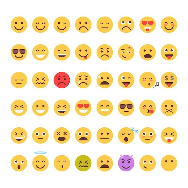 Ensemble de visage cartoon jaune Vecteur Premium