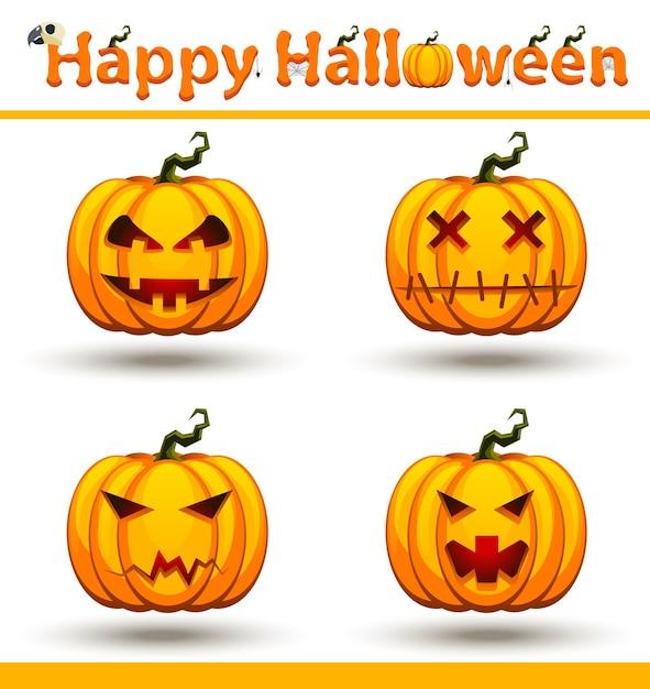 Ensemble De Visage De Citrouille Orange Halloween Vecteur Premium