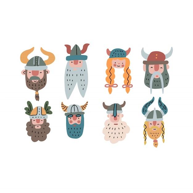 Ensemble de visages drôles viking Vecteur Premium