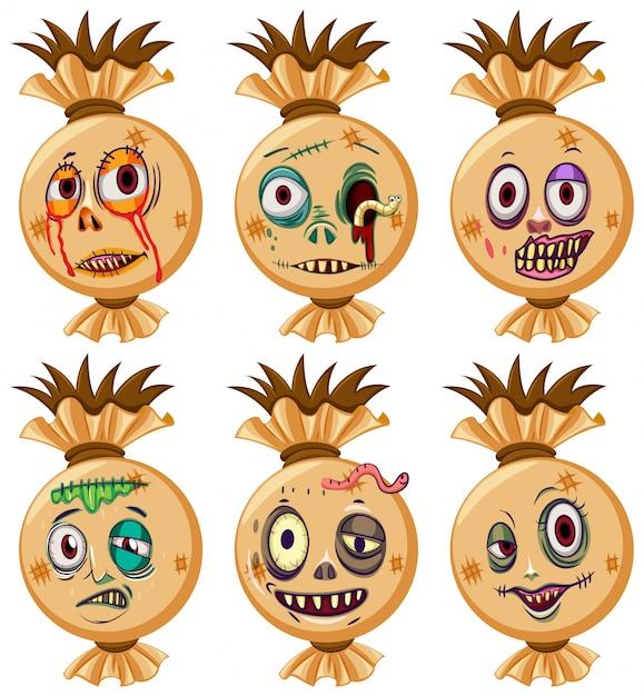 Ensemble de visages d'halloween Vecteur gratuit