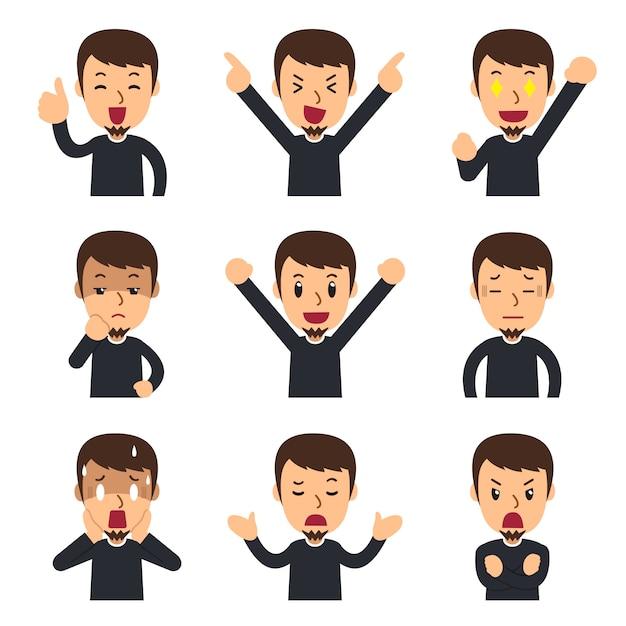 Ensemble de visages d'hommes montrant différentes émotions Vecteur Premium