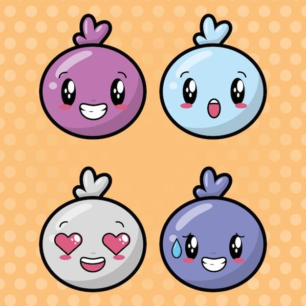 Ensemble De Visages Kawaii Sur Des Emoji Heureux En Pointillés Vecteur gratuit
