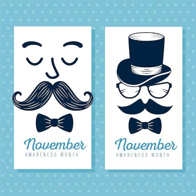 Ensemble De Visages Avec Moustache Et Carte Cravate Vecteur gratuit