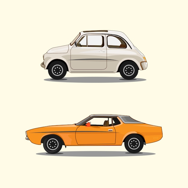 Ensemble De Voiture Blanc Orange Vecteur Premium
