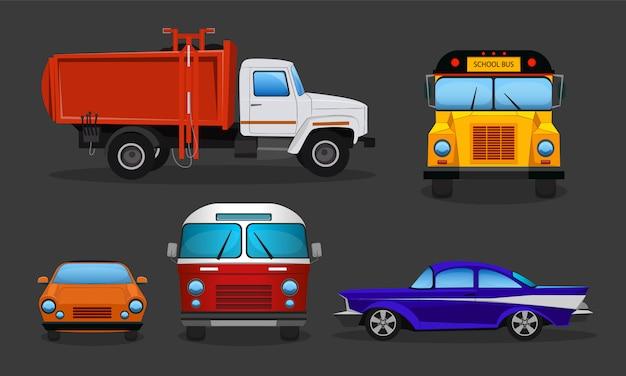 Ensemble de voitures de bande dessinée - transports en commun ou véhicules privés. Vecteur gratuit