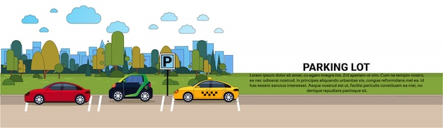 Ensemble de voitures sur le parking de la ville sur la bannière horizontale de fond bâtiments silhouette Vecteur Premium