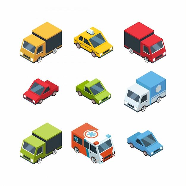 Ensemble de voitures de ville de style dessin animé isométrique Vecteur Premium