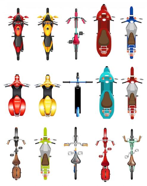 Ensemble de vue aérienne de moto Vecteur gratuit