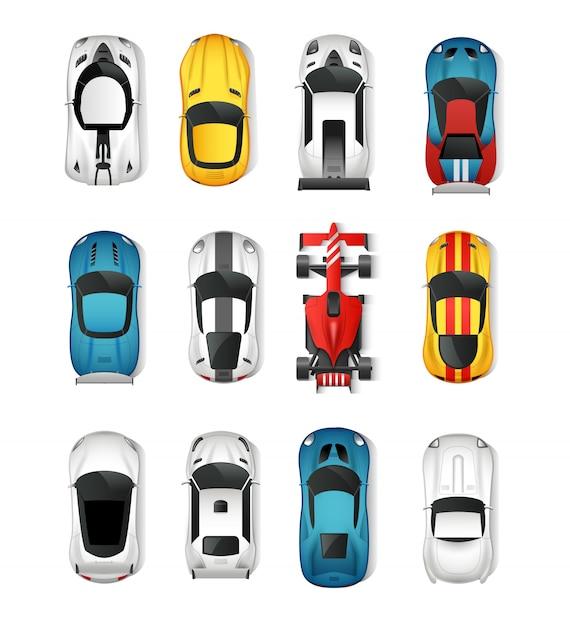 Ensemble de vue de dessus de voitures de sport Vecteur gratuit