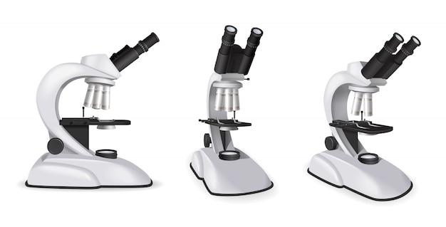 Ensemble De Vue De Microscope Professionnel Sous Différents Angles Dans Une Illustration Vectorielle Isolée De Style Réaliste Vecteur gratuit