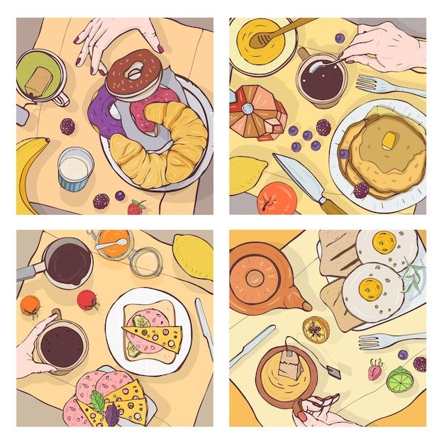 Ensemble De Vues De Dessus Des Petits-déjeuners Servis, De La Nourriture Délicieuse, Des Desserts Sucrés Et Des Mains Des Gens Qui Le Mangent Vecteur Premium