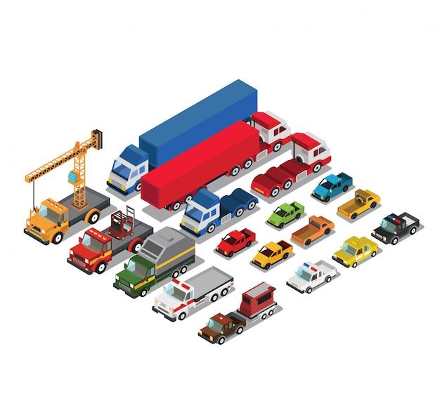Ensemble de wagons urbains et de wagons de fret Vecteur Premium