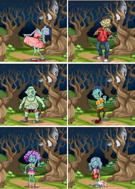 Ensemble de zombies de nuit Vecteur gratuit