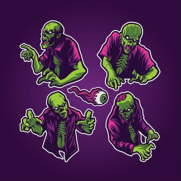 Ensemble de zombies Vecteur Premium