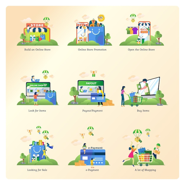 Ensembles de collections pour le commerce électronique, la boutique en ligne et la place de marché Vecteur Premium
