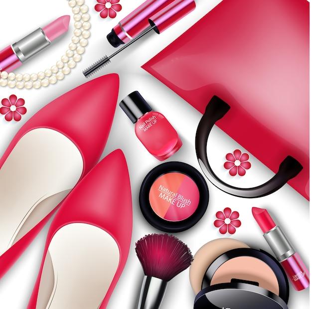 Ensembles de cosmétiques et de trucs de femmes isolés Vecteur Premium