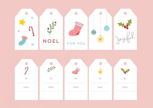 Ensembles étiquettes de cadeau de noël - mignon Vecteur Premium
