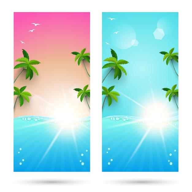 Ensembles de milieux pour les vacances d'été Vecteur Premium