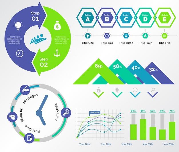 Ensembles de modèles five charts bancaires Vecteur gratuit