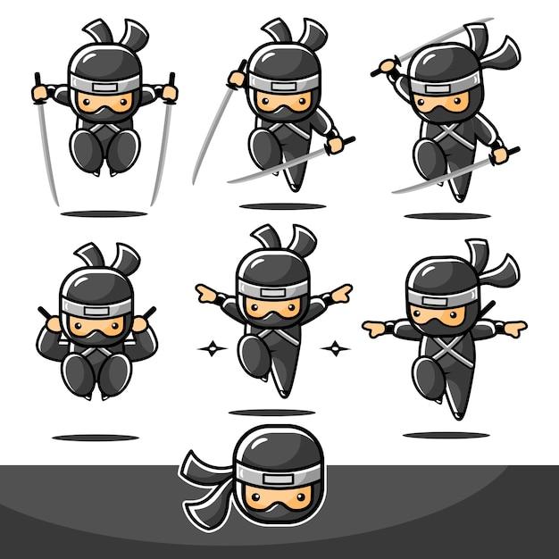 Ensembles De Sauts Ninja De Dessin Animé Noir Avec Six Actions Différentes Vecteur Premium