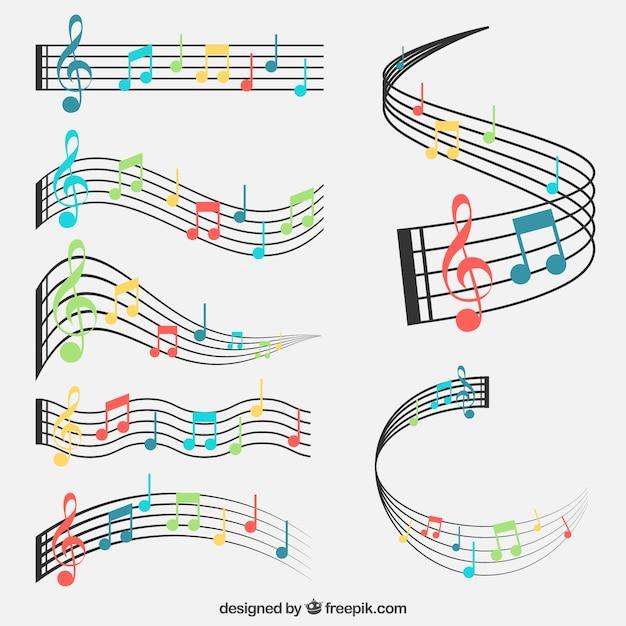 Ensembles De Talons Et De Notes De Musique Colorés Vecteur Premium