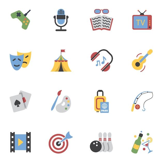 Entertainments icons flat Vecteur gratuit