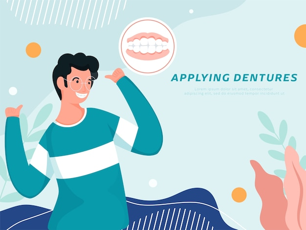 Enthousiaste Jeune Fille Appliquant Des Prothèses Dentaires Sur Fond Bleu. Vecteur Premium
