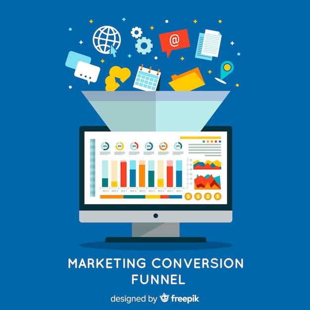 Entonnoir De Conversion Marketing Vecteur gratuit