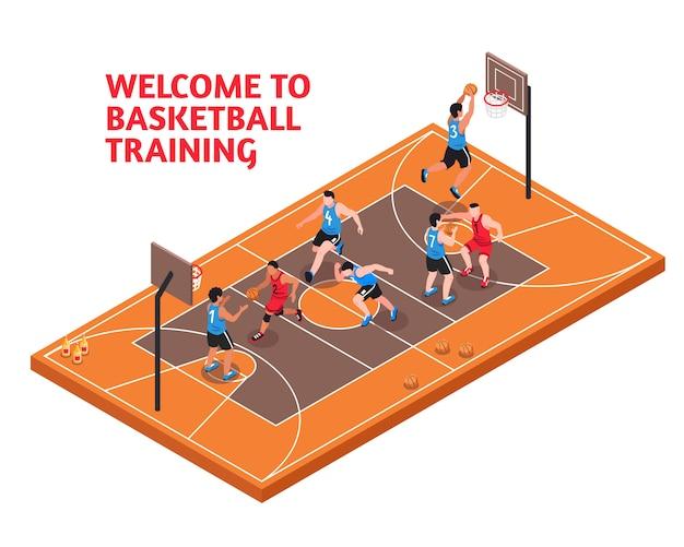 Entraînement de basketball sportif isométrique Vecteur gratuit