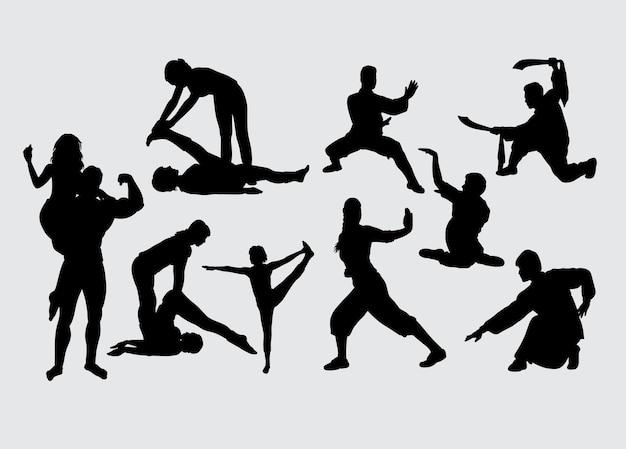 Entraînement Sportif Et Silhouette D'art Martial Vecteur Premium