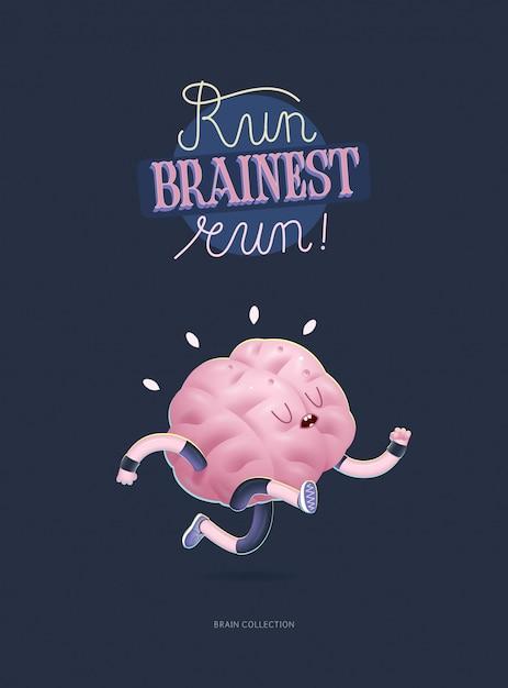 Entraînez votre affiche du cerveau avec l'inscription, la course Vecteur Premium