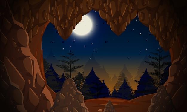 Une Entrée Dans La Grotte La Nuit Vecteur Premium